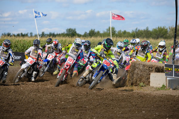 Mackenzie Machan (50) and his YZ250 two-stroke leads a Junior moto at the 2014 Parts Canada Walton TransCan.