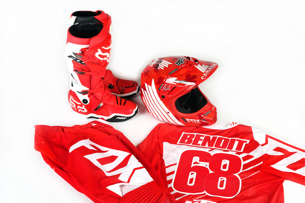 Benoit's Fox pants, jersey, boots and helmet. How cool would this look in your man cave?