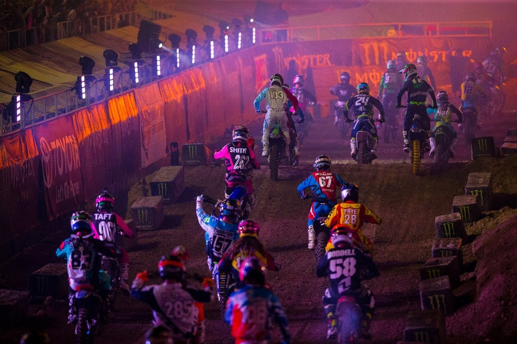 A cool look at the stars of supercross rolling through opening ceremonies.
